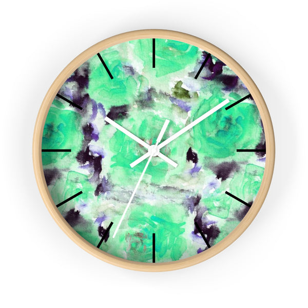 "Turquoise Blue Floral Print Abstract Rose 10"" Diameter Wall Clock - Made in USA-Wall Clock-Wooden-White-Heidi Kimura Art LLC"