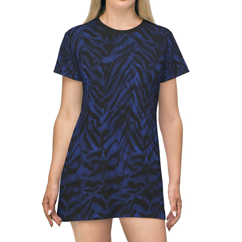 Chic Navy Blue Tiger Stripe Animal Print Designer Crew Neck T-shirt Dress-Made in USA-T-Shirt Dress-L-Heidi Kimura Art LLC Navy Blue Tiger Stripe Dress, Chic Navy Blue Tiger Stripe Animal Print Designer Crew Neck Women's Long Tee T-shirt Dress-Made in USA (US Size: XS-2XL)