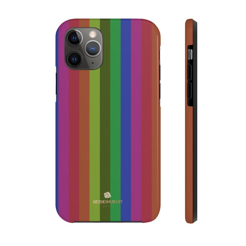 Faded Rainbow Stripe iPhone Case, Case Mate Tough Samsung Galaxy Phone Cases-Phone Case-Printify-iPhone 11 Pro-Heidi Kimura Art LLC Faded Rainbow Stripe iPhone Case, Gay Pride  Vertically Stripe Print Sexy Modern Designer Case Mate Tough Phone Case For iPhones and Samsung Galaxy Devices-Printed in USA