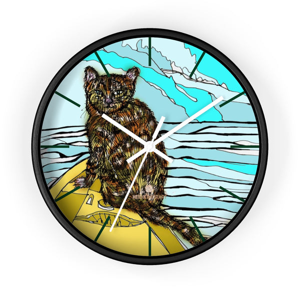 Boat Cat Print Wall Clock, Brown Orange Cat Print 10 in. Dia. Indoor Clock- Made in USA-Wall Clock-10 in-Black-White-Heidi Kimura Art LLC