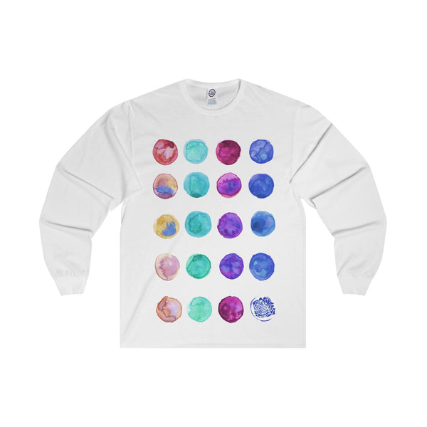 Polka Dots Unisex Designer Premium Long Sleeve Tee - Designed + Made in USA-Long-sleeve-White-S-Heidi Kimura Art LLC
