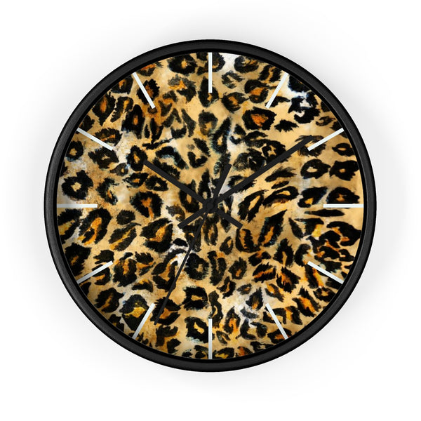"Brown Leopard Print Wall Clock, Animal Print Pattern 10"" Dia. Indoor Clock-Made in USA-Wall Clock-Black-Black-Heidi Kimura Art LLC"
