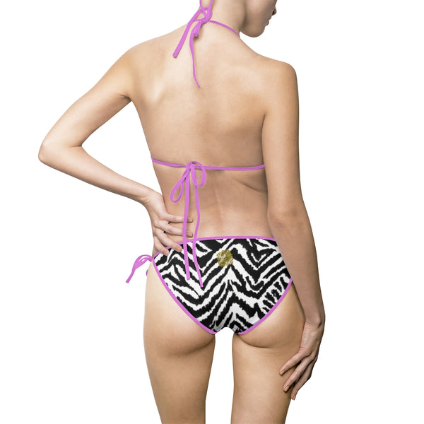 Fun Black White Zebra Animal Print Women's 2-pc Bikini Top Bottom Swimwear Set-Bikini-Heidi Kimura Art LLC