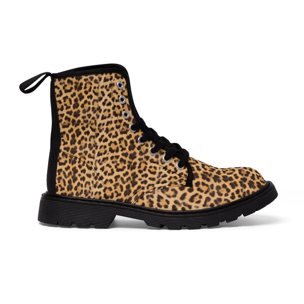 Brown Leopard Men's Canvas Boots, Animal Print Designer Winter Laced-up Boots For Men-Shoes-Printify-Heidi Kimura Art LLC