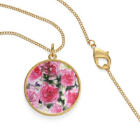 Red Rose Floral Single Loop 18 K Gold/ Sterling Silver-Plated Necklace - Made in USA - Heidi Kimura Art LLC