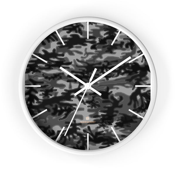 "Gray Camo Camouflage Military Army Print Large Unique 10"" Dia. Wall Clocks- Made in USA-Wall Clock-10 in-White-White-Heidi Kimura Art LLC"