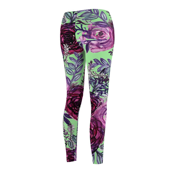 Light Green Rose Floral Print Women's Tights / Casual Leggings - Made in USA (US Size: XS-2XL)-Casual Leggings-Heidi Kimura Art LLC