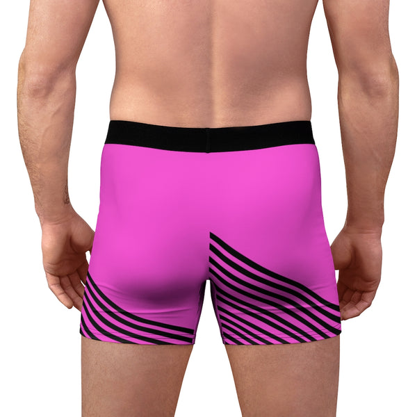 Pink Striped Men's Boxer Briefs, Diagonal Stripe Print Premium Quality Underwear For Men-All Over Prints-Printify-Heidi Kimura Art LLC