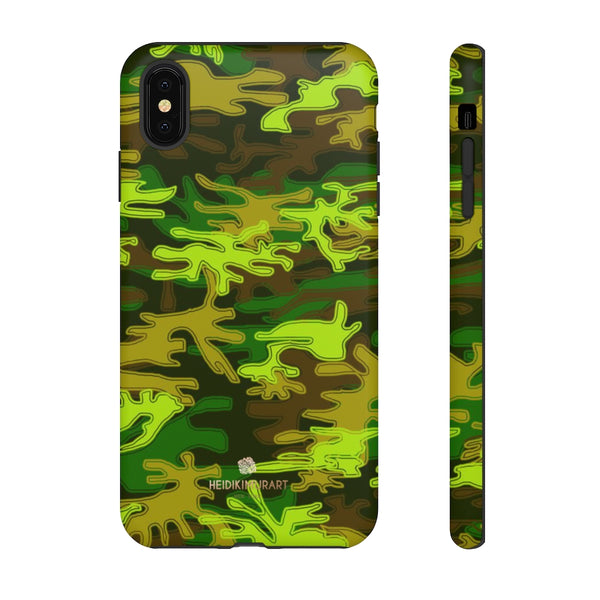 Green Camouflage Phone Case, Army Military Print Tough Designer Phone Case -Made in USA-Phone Case-Printify-iPhone XS MAX-Matte-Heidi Kimura Art LLC