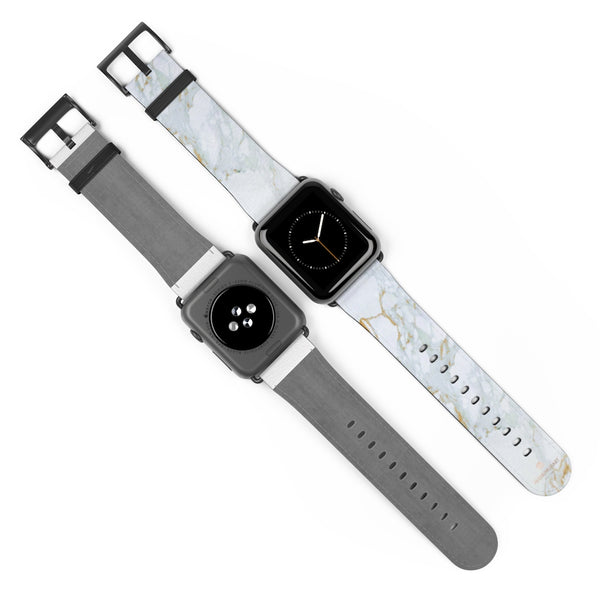White Marble Print 38mm/42mm Premium Watch Band For Apple Watch- Made in USA-Watch Band-Heidi Kimura Art LLC