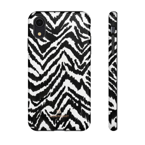 White Tiger Stripe Phone Case, Animal Print Best Tough Designer Phone Case -Made in USA-Phone Case-Printify-iPhone XR-Glossy-Heidi Kimura Art LLC