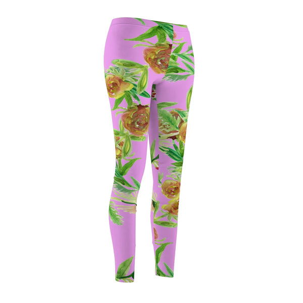 Pink Floral Print Women's Tights / Casual Leggings - Made in USA (US Size: XS-2XL)-Casual Leggings-Heidi Kimura Art LLC