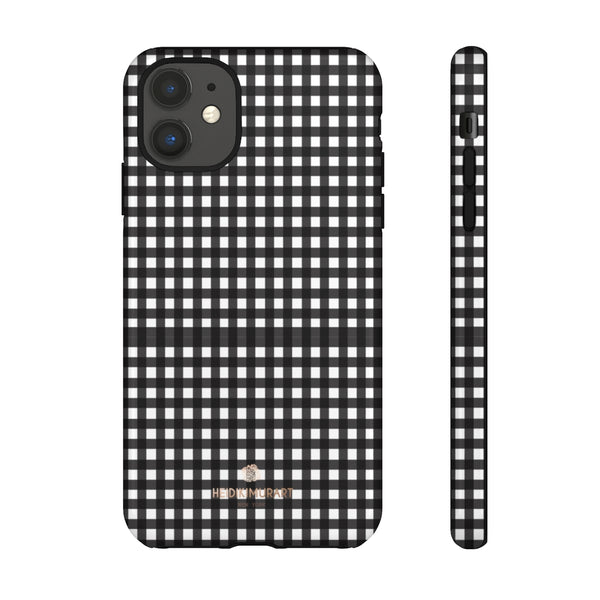 Buffalo Plaid Print Phone Case, Black White Tough Designer Phone Case -Made in USA-Phone Case-Printify-iPhone 11-Glossy-Heidi Kimura Art LLC