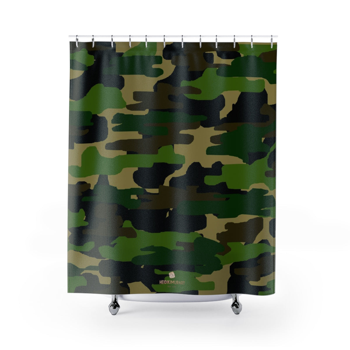 Green Camouflage Camo Army Military Print Large 71x74 inches Shower Curtains-Shower Curtain-71x74-Heidi Kimura Art LLC Green Camouflage Shower Curtains, Camouflage Army Military Print Designer Polyester Large 100% Polyester 71x74 inches Shower Curtains- Printed in USA