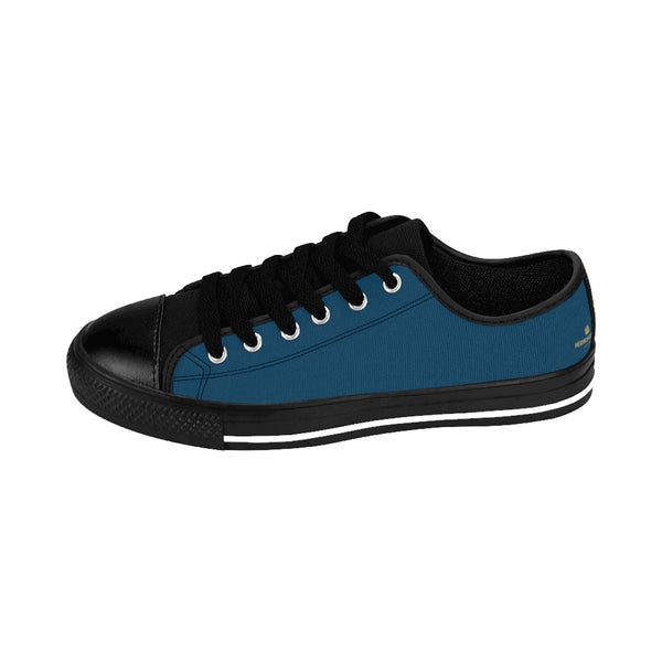 Teal Blue Priest Lake Solid Color Designer Men's Low Top Running Sneakers Shoes-Men's Low Top Sneakers-Heidi Kimura Art LLC