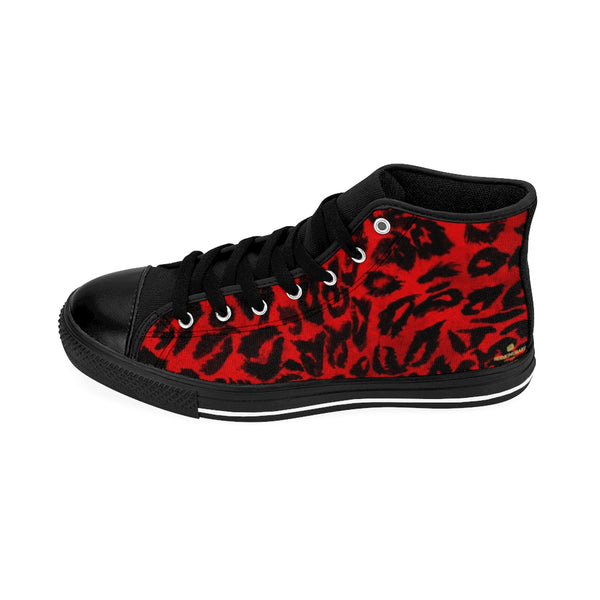 Hot Red Leopard Animal Print Premium Men's High-top Fashion Sneakers Shoes-Men's High Top Sneakers-Black-US 9-Heidi Kimura Art LLC