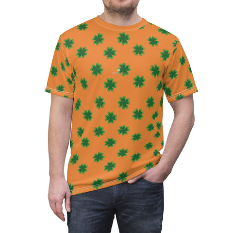 Orange Green Clover St. Patrick's Day Print Unisex Crew Neck Cut & Sew Tee- Made in USA-Unisex T-Shirt-4 oz.-White Seams-L-Heidi Kimura Art LLC