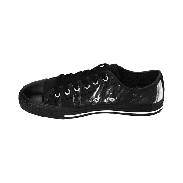 Black Marble Print Men's Low Tops, Modern Low Top Fashion Sneakers Running Shoes-Men's Low Top Sneakers-Heidi Kimura Art LLC Black Marble Print Men's Sneakers, Black Marble Print Men's Low Tops, Black Marble Modern Print Men's Low Top Nylon Canvas Sneakers Fashion Running Tennis Shoes (US Size: 7-14)