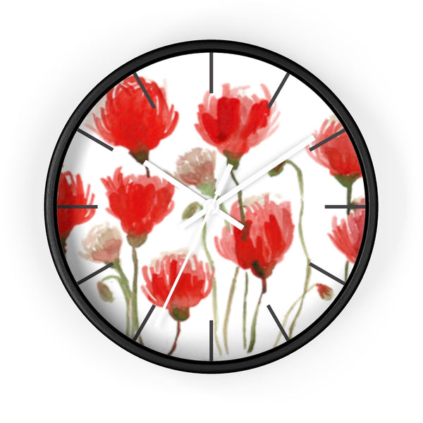 Orange Red Tulips Floral Print Large 10 inch Diameter Flower Wall Clock - Made in USA-Wall Clock-Black-White-Heidi Kimura Art LLC