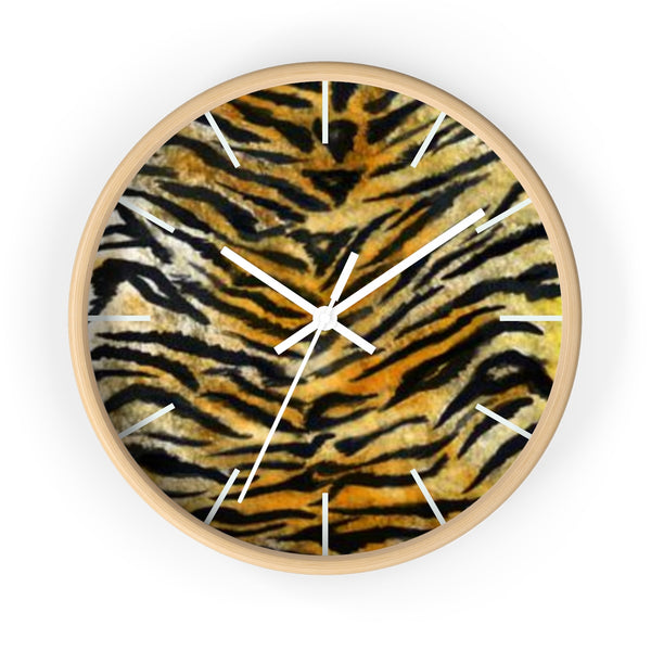 "Stylish Tiger Stripe Faux Fur Pattern Animal Print 10"" Diameter Wall Clock - Made in USA-Wall Clock-Wooden-White-Heidi Kimura Art LLC"