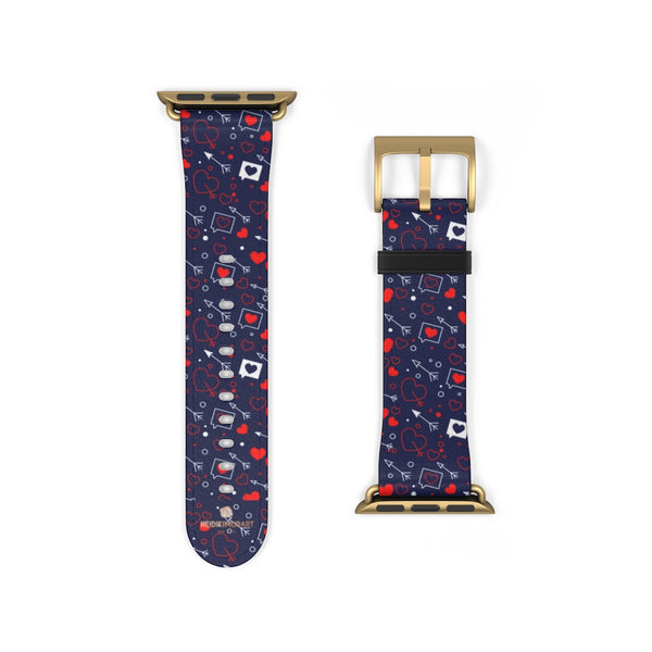 Fun Red Hearts Shaped V Day 38mm/42mm Watch Band For Apple Watch- Made in USA-Watch Band-38 mm-Gold Matte-Heidi Kimura Art LLC
