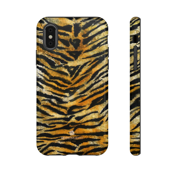 Tiger Stripe Print Phone Case, Animal Print Tough Designer Phone Case -Made in USA-Phone Case-Printify-iPhone X-Glossy-Heidi Kimura Art LLC