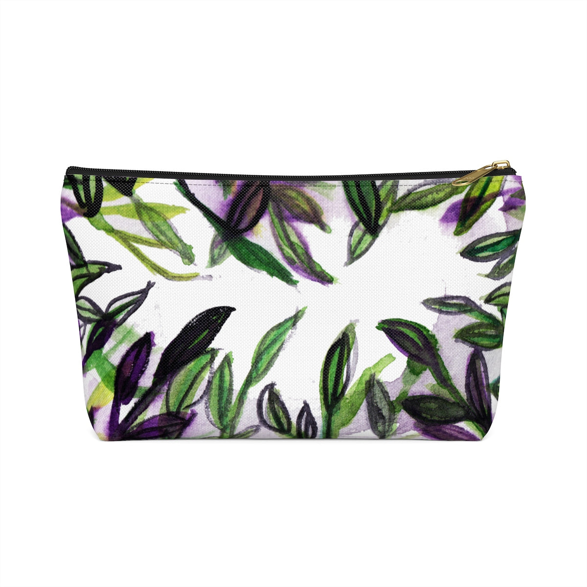 Green Foliage Print Accessory Pouch with T-bottom Makeup Bag - Made in USA-Accessory Pouch-Black-Large-Heidi Kimura Art LLC