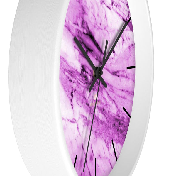 "Pink White Marble Print Art Large Indoor 10"" diameter Designer Wall Clock-Made in USA-Wall Clock-Heidi Kimura Art LLC"