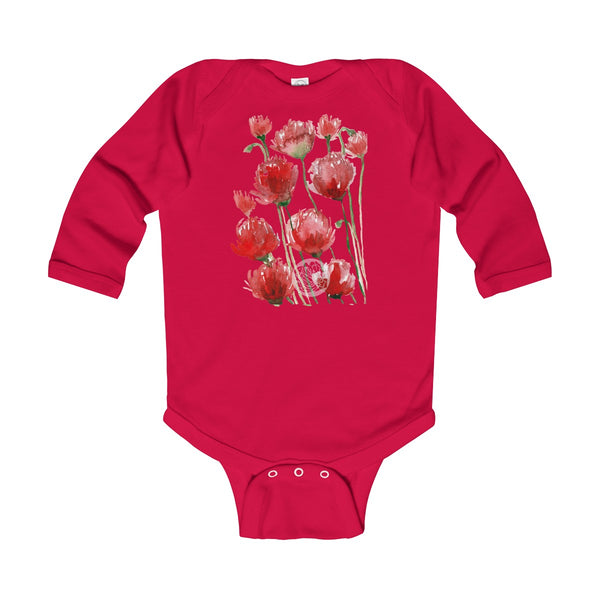 Floral Red Poppy Flower Print Infant Long Sleeve Bodysuit - Made in UK(UK Size: 6M-24M)-Kids clothes-Red-12M-Heidi Kimura Art LLC