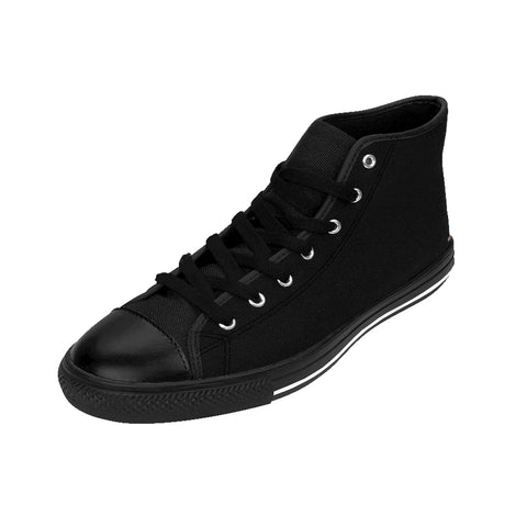 Outer Space Black Solid Color Women's High Top Sneakers Running Shoes-Women's High Top Sneakers-Heidi Kimura Art LLC