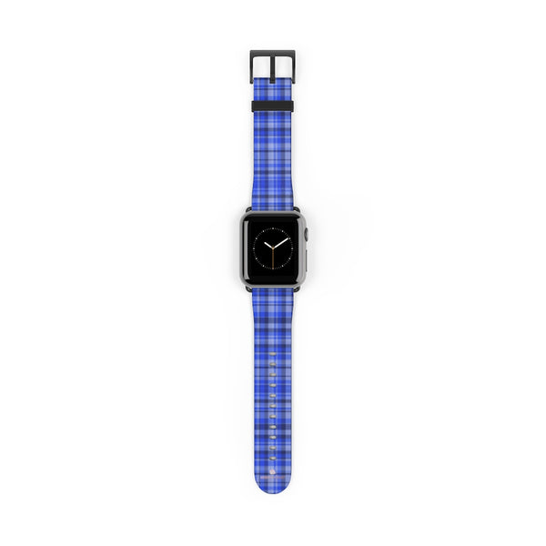 Blue Plaid Tartan Scottish Print 38mm/42mm Watch Band For Apple Watch- Made in USA-Watch Band-Heidi Kimura Art LLC