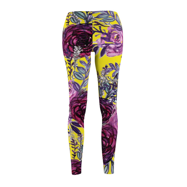 Yellow Rose Floral Print Women's Tights / Casual Fashion Floral Leggings - Made in USA-Casual Leggings-Heidi Kimura Art LLC