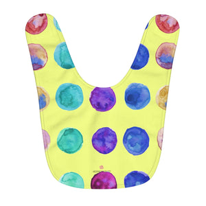 Lime Yellow Colorful Polka Dots Pattern Fleece Baby Bib - Designed and Made in USA-Baby Bib-One Size-Heidi Kimura Art LLC