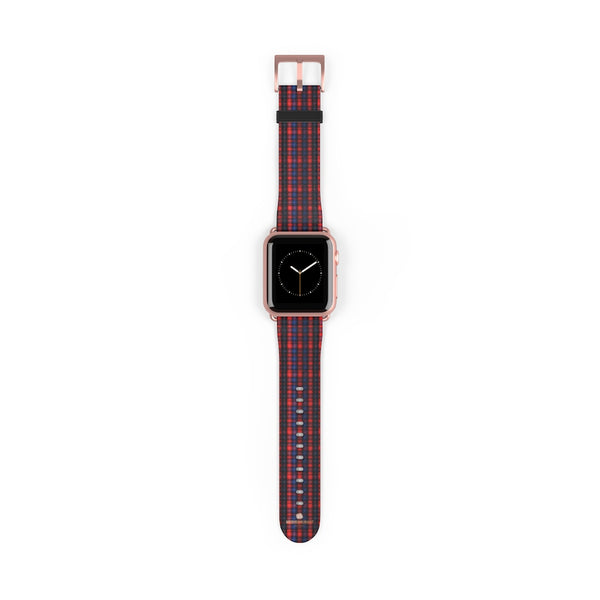 Red Blue Plaid Tartan Print 38mm/42mm Watch Band For Apple Watch- Made in USA-Watch Band-38 mm-Rose Gold Matte-Heidi Kimura Art LLC