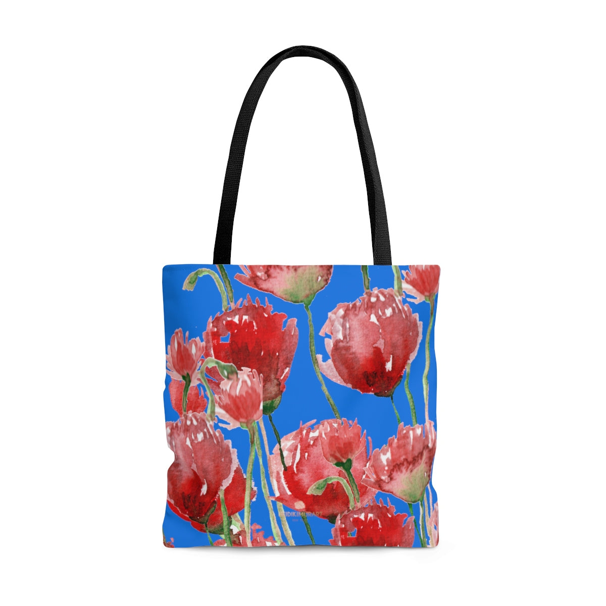 Sky Blue Pacific Northwest Red Tulip Flower Floral Designer Tote Bag - Made in USA-Tote Bag-Large-Heidi Kimura Art LLC