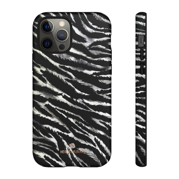 White Tiger Stripe Phone Case, Animal Print Tough Designer Phone Case -Made in USA-Phone Case-Printify-iPhone 12 Pro-Matte-Heidi Kimura Art LLC