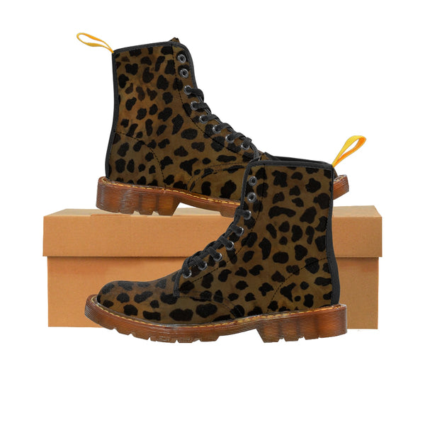 Brown Leopard Animal Print Women's Winter Laced-Up Nylon Canvas Boots (US Size: 6.5-11)-Women's Boots-Brown-US 10-Heidi Kimura Art LLC