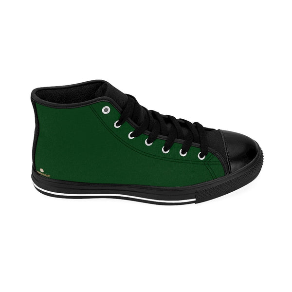 Emerald Dark Green Solid Color Print Premium Quality Men's High-Top Sneakers-Men's High Top Sneakers-Heidi Kimura Art LLC