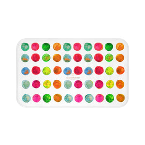 White Cute Colorful Watercolor Polka Dots Print Microfiber Bath Mat- Made in USA
