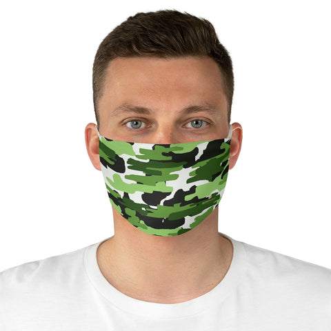 "Green Camouflage Print Face Mask, Adult Military Style Modern Fabric Face Mask-Made in USA-Accessories-Printify-One size-Heidi Kimura Art LLC Green Camouflage Print Face Mask, Adult Military Style Designer Fashion Face Mask For Men/ Women, Designer Premium Quality Modern Polyester Fashion 7.25"" x 4.63"" Fabric Non-Medical Reusable Washable Chic One-Size Face Mask With 2 Layers For Adults With Elastic Loops-Made in USA"