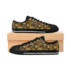 Orange Tiger Striped Men's Low Tops, Animal Print Men's Low Top Sneakers Running Shoes-Men's Low Top Sneakers-US 9-Heidi Kimura Art LLC
