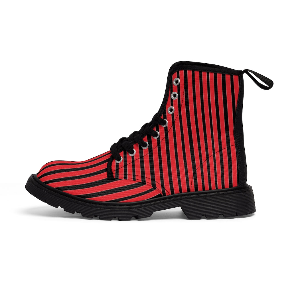Red Striped Print Men's Boots, Black Stripes Best Hiking Winter Boots Laced Up Shoes For Men-Shoes-Printify-Black-US 7-Heidi Kimura Art LLC Red Striped Print Men's Boots, Black Red Stripes Men's Canvas Hiking Winter Boots, Fashionable Modern Minimalist Best Anti Heat + Moisture Designer Comfortable Stylish Men's Winter Hiking Boots Shoes For Men (US Size: 7-10.5)