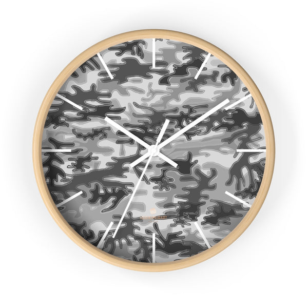 Gray Camo Camoflage Military Print Large Unique Indoor Wall Clocks- Made in USA-Home Decor-10 in-Wooden-White-Heidi Kimura Art LLC