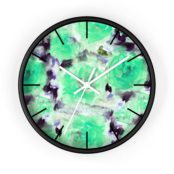"Turquoise Blue Floral Print Abstract Rose 10"" Diameter Wall Clock - Made in USA-Wall Clock-Black-White-Heidi Kimura Art LLC"
