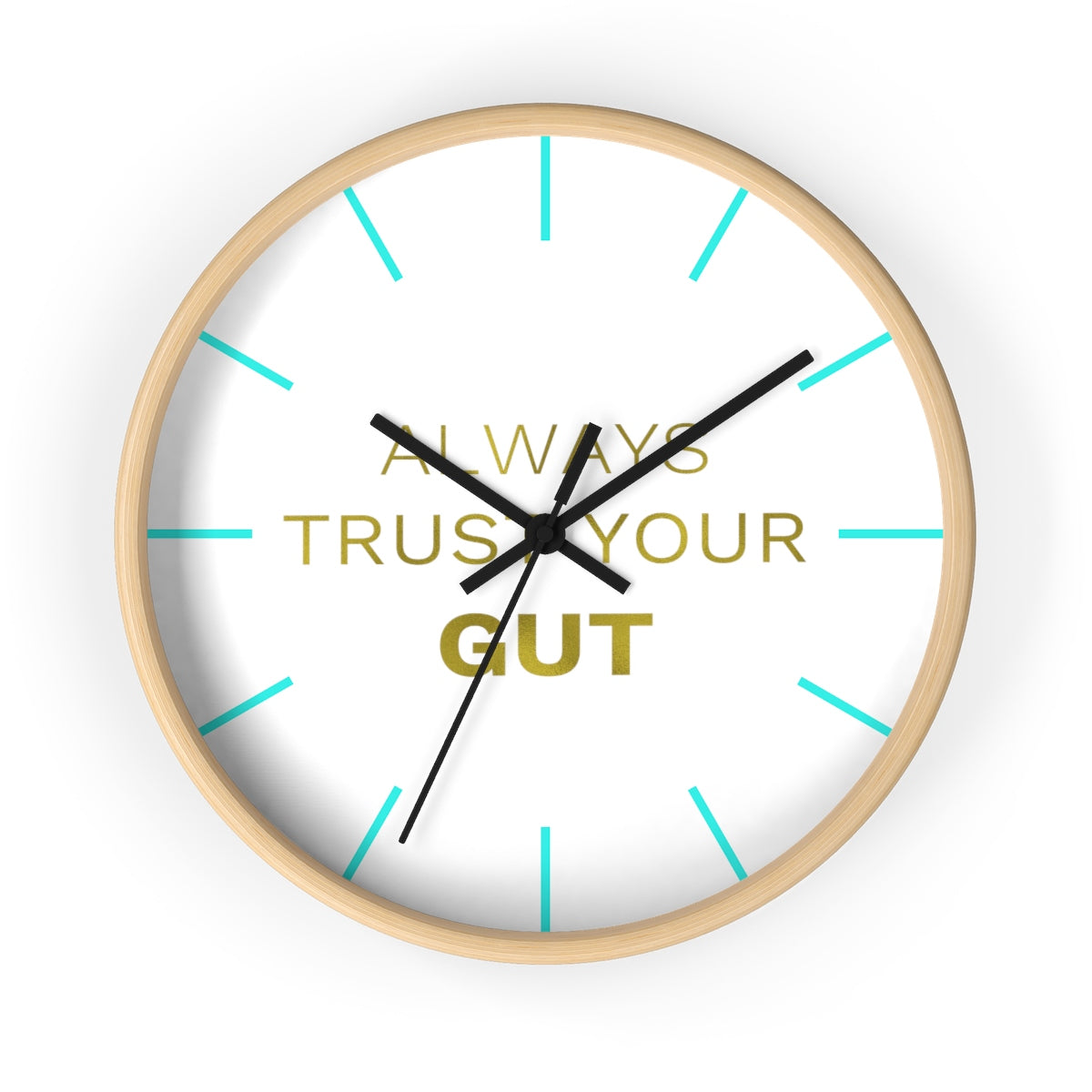 "Inspirational Quote Wall Clock, 10"" Dia. Clock w/ ""Always Trust Your Gut"" Quote- Made in USA-Wall Clock-Wooden-Black-Heidi Kimura Art LLC"