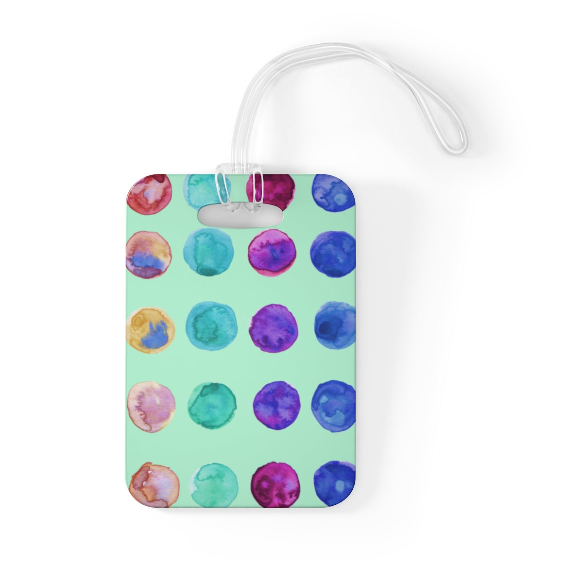 Cute Watercolor Polka Dots Designer Travel Luggage Suitcase Bag Tag-Made in USA-Bag Tags-One Size-Heidi Kimura Art LLC