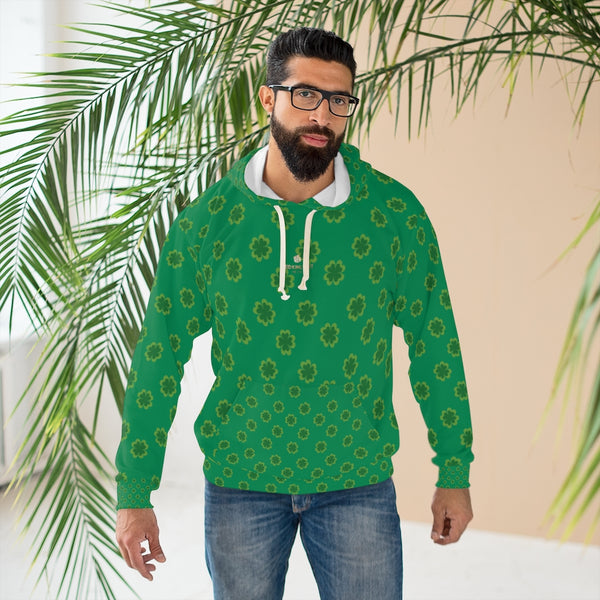 Dark Green Clover St. Patrick's Day Unisex Pullover Hoodie For Men/ Women- Made in USA-Unisex Hoodie-Heidi Kimura Art LLC