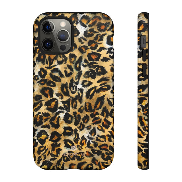 Brown Leopard Tough Cases, Animal Print Best Designer Phone Case-Made in USA-Phone Case-Printify-iPhone 12 Pro-Glossy-Heidi Kimura Art LLC