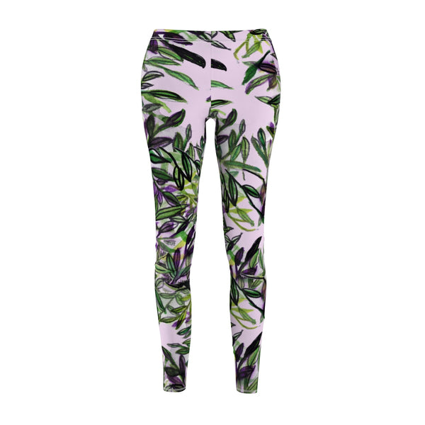 Green Tropical Leaves Print Women's Casual Leggings, Fancy Dressy Pants, Made in USA-Casual Leggings-Heidi Kimura Art LLC