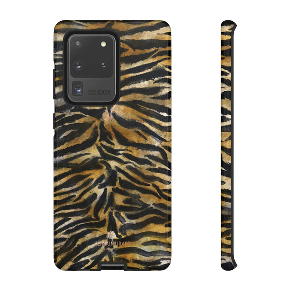 Brown Tiger Striped Tough Cases, Animal Print Best Designer Phone Case-Made in USA-Phone Case-Printify-Samsung Galaxy S20 Ultra-Glossy-Heidi Kimura Art LLC